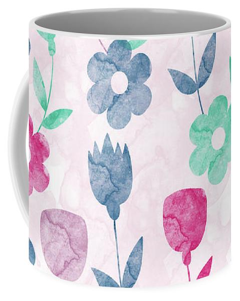 Watercolor Coffee Mug featuring the digital art Floral Pattern by Amir Faysal
