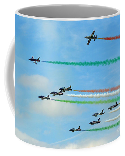 Frecce Tricolori Coffee Mug featuring the photograph Frecce Tricolori by Angel Tarantella
