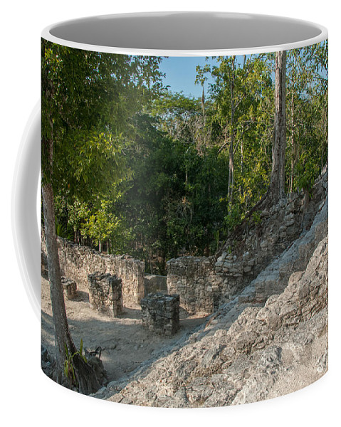 Mexico Quintana Roo Coffee Mug featuring the digital art Grupo Coba At The Coba Ruins by Carol Ailles