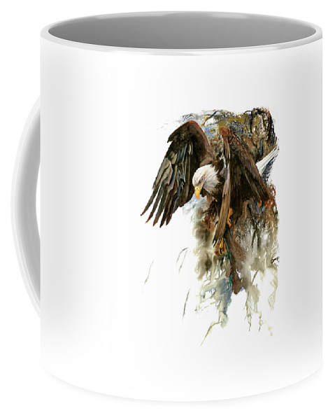 Eagle Coffee Mug featuring the painting High And Mighty by Peter Williams