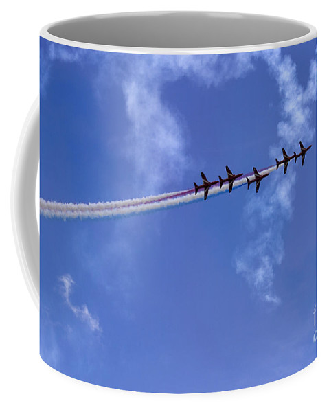 Red Arrows Coffee Mug featuring the photograph In One Row by Angel Ciesniarska