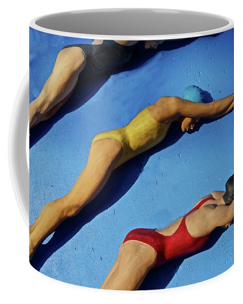 Three Ladies In Bathing Suits Diving Coffee Mug featuring the photograph 3 Lady Swimmers by Joan Reese