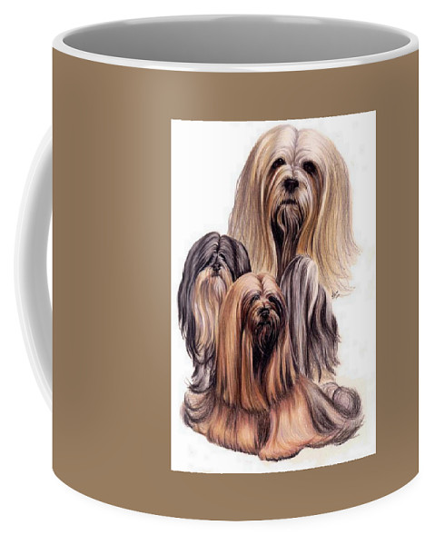 Purebred Coffee Mug featuring the drawing Lhasa Apso Triple by Barbara Keith