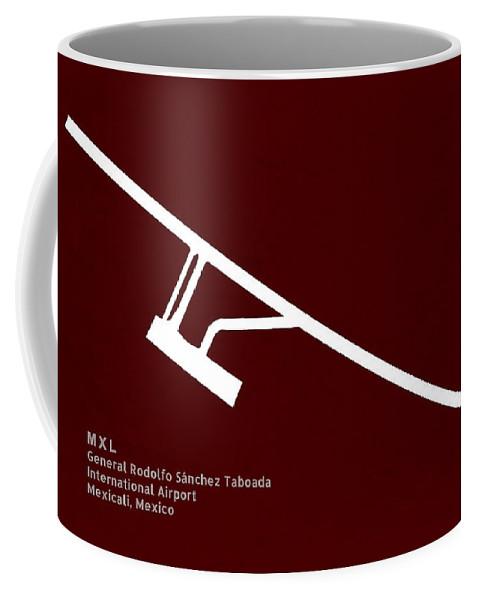 Silhouette Coffee Mug featuring the digital art Mxl General Rodolfo Sanchez Taboada International Airport In Mex by Jurq Studio