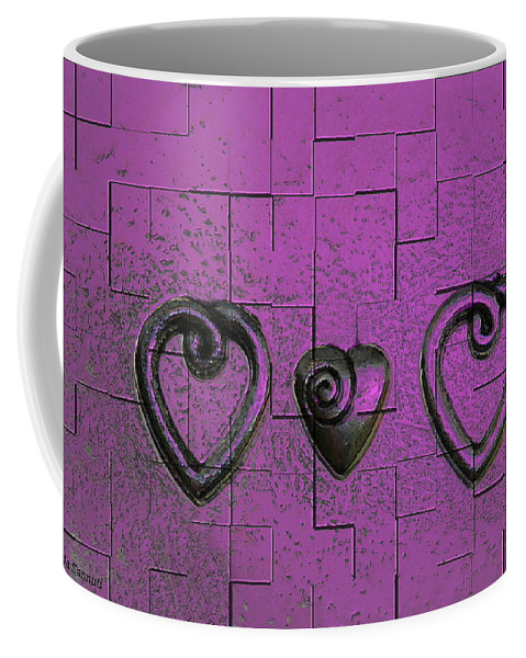 Abstracts Pink Purple Coffee Mug featuring the photograph 3 Of Hearts by Linda Sannuti