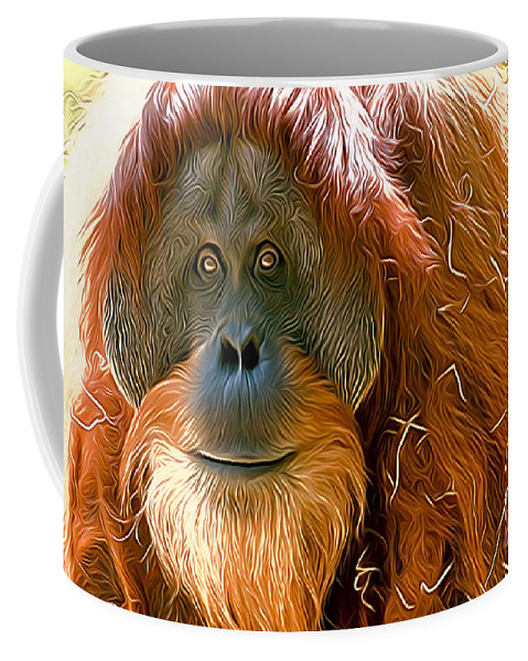 Orang-utan Coffee Mug featuring the photograph Orangutan by Andrew Michael