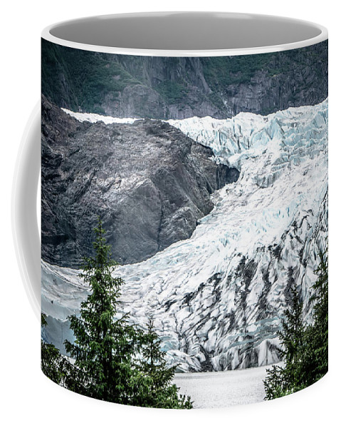 Panoramic Coffee Mug featuring the photograph Panoramic View Of Mendenhall Glacier Juneau Alaska by Alex Grichenko