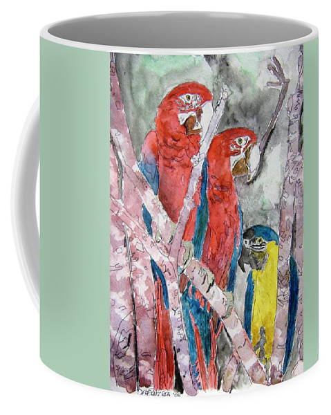 Bird Coffee Mug featuring the painting 3 Parrots by Derek Mccrea