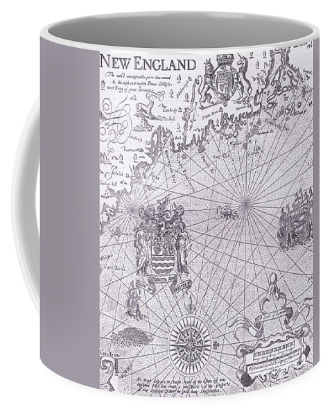 New England Coffee Mug featuring the drawing Part Of Captain J Smith's Map Of New England by American School