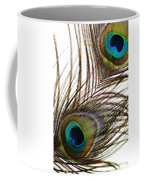 Abstract Coffee Mug featuring the photograph Peacock Feathers by Mary Van de Ven - Printscapes