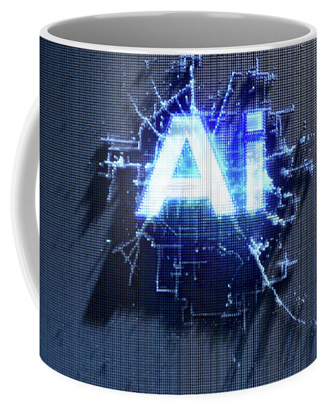 Artificial Intelligence Coffee Mug featuring the digital art Pixel Artificial Intelligence by Allan Swart