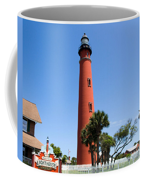 Ponce; De; Leon; Lighthouse; Light; House; Beacon; Navigation; Aid; Lens; Fresnel; Mosquito; Florida Coffee Mug featuring the photograph Ponce De Leon Inlet Lighthouse by Allan Hughes