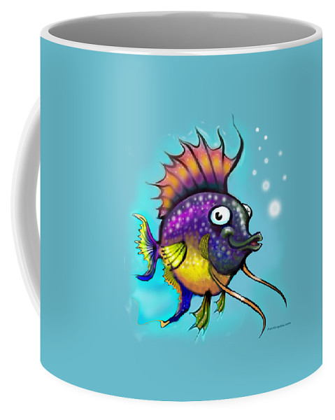 Rainbow Coffee Mug featuring the painting Rainbow Fish by Kevin Middleton
