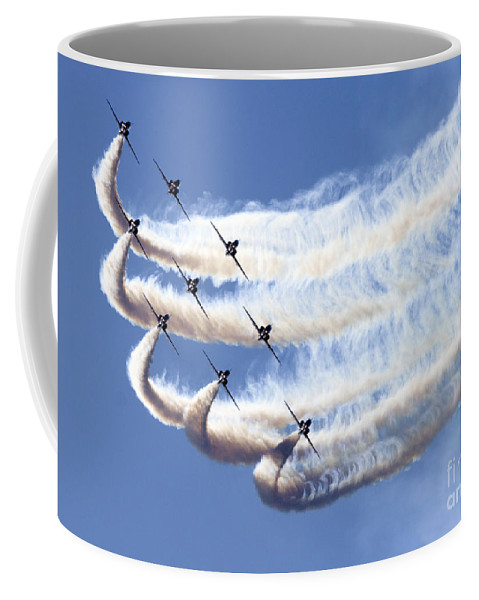 Red Arrows Coffee Mug featuring the photograph Red Arrows by Angel Ciesniarska