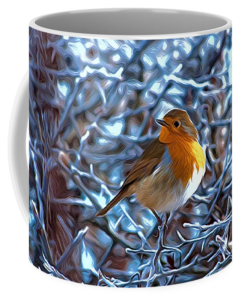 Robin Bird Christmas Birds England Winter Snow In Close Up Coffee Mug featuring the photograph Robin by Andrew Michael
