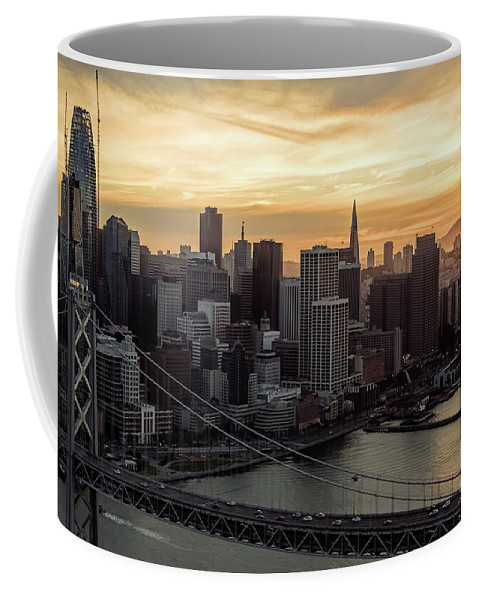 Financial District Coffee Mug featuring the photograph San Francisco City Skyline At Sunset Aerial by David Oppenheimer