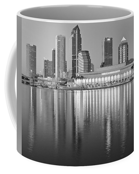 Tampa Coffee Mug featuring the photograph Tampa Bay Black And White by Frozen in Time Fine Art Photography