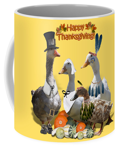 Thanksgiving Coffee Mug featuring the mixed media Thanksgiving Ducks by Gravityx9 Designs