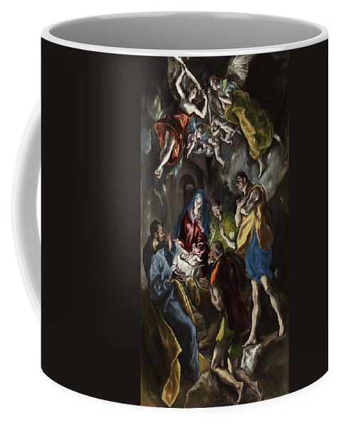 Adoration Coffee Mug featuring the painting The Adoration Of The Shepherds by El Greco