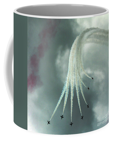 Red Arrows Coffee Mug featuring the photograph The Vertical Break by Angel Ciesniarska