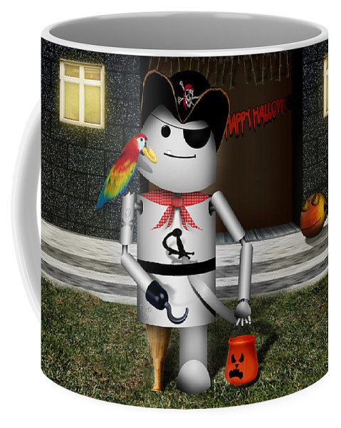 Halloween Coffee Mug featuring the mixed media Trick Or Treat Time For Robo-x9 by Gravityx9 Designs