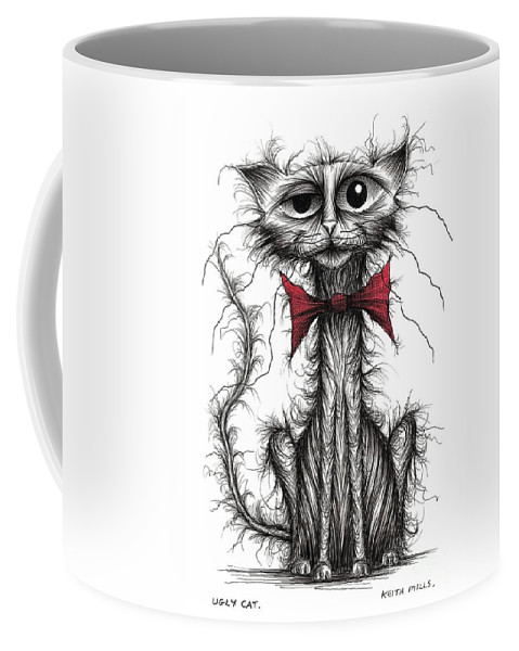 Ugly Cat Coffee Mug featuring the drawing Ugly Cat by Keith Mills