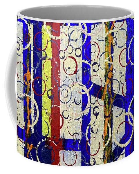 Coffee Mug featuring the painting Blue Line by Cynthia Romero