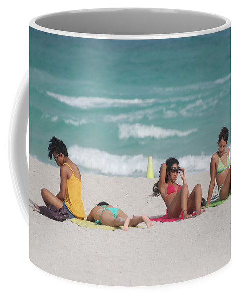 Sea Scape Coffee Mug featuring the photograph 3 Up 1 Down At The Beach by Rob Hans