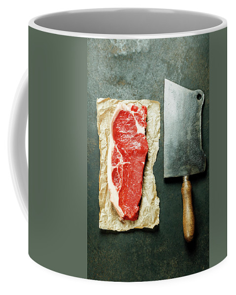 Meat Coffee Mug featuring the photograph Vintage Cleaver And Raw Beef Steak by Natalia Klenova