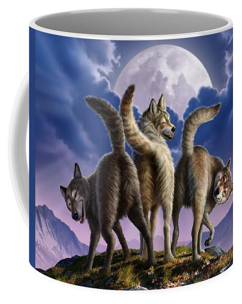 Wolf Coffee Mug featuring the digital art 3 Wolves Mooning by Jerry LoFaro