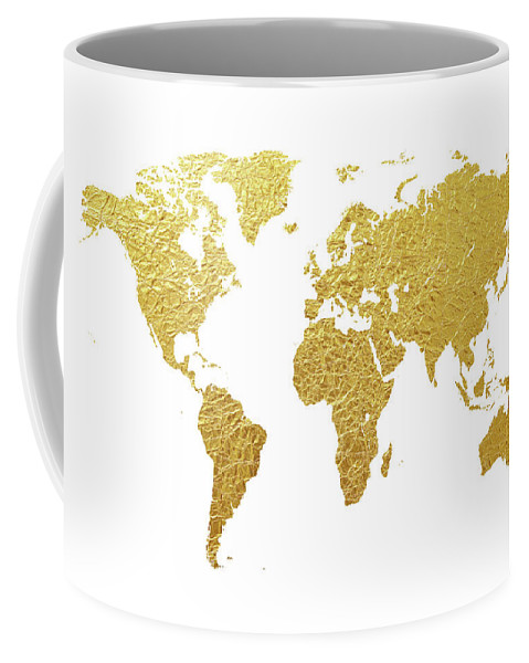 World map gold foil coffee mug for sale by michael tompsett front right view gumiabroncs Choice Image