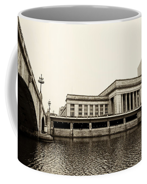 30th Coffee Mug featuring the photograph 30th Street Station From The River Walk In Sepia by Bill Cannon