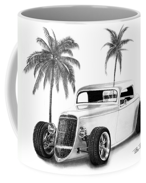 1933 Ford Coupe Coffee Mug featuring the drawing 33 Ford Coupe by Peter Piatt