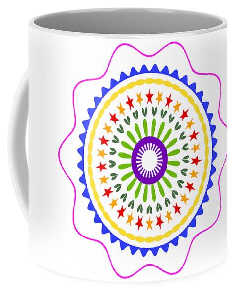 Mandala Coffee Mug featuring the digital art Mandala Ornament by Miroslav Nemecek