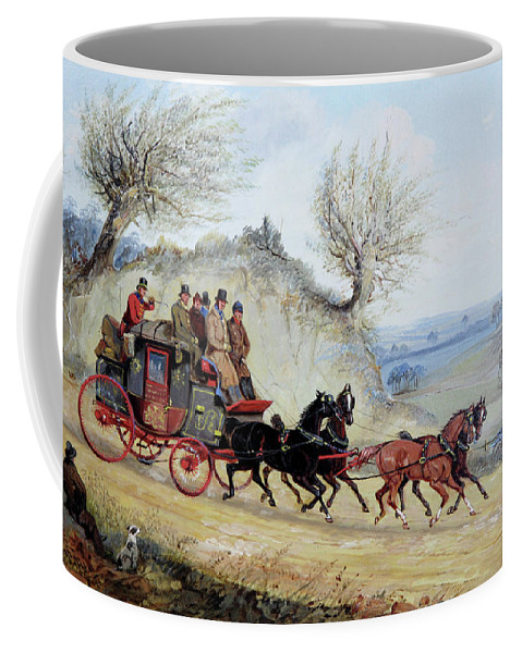Coaching Oil Of A Royal Mail Coach Crossing Landscape Passing Seated Man With His Dog By Samuel Henry Alken (english Coffee Mug featuring the digital art Landscape by Mark Carlson