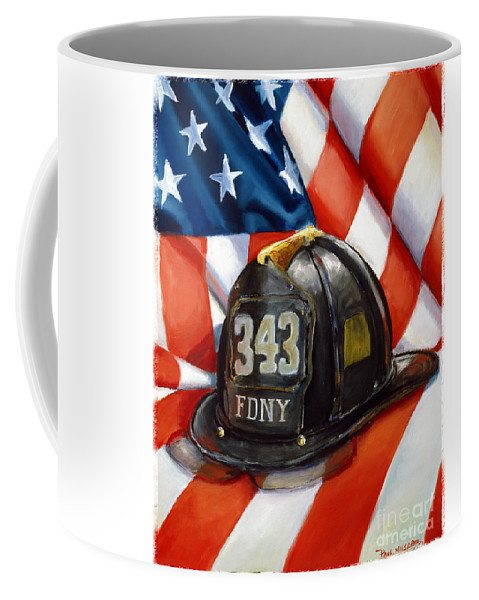 American Flag Coffee Mug featuring the painting 343 by Paul Walsh