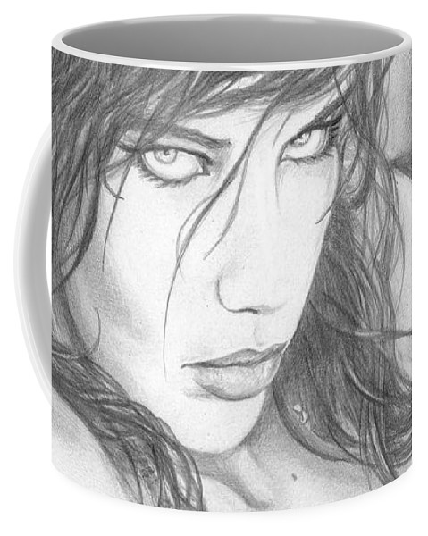 #adrianalima Coffee Mug featuring the drawing Pout by Kristopher VonKaufman