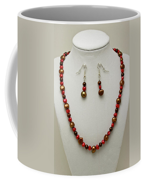 Handmade Coffee Mug featuring the jewelry 3536 Freshwater Pearl Necklace And Earring Set by Teresa Mucha