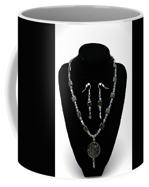 Handmade Coffee Mug featuring the jewelry 3576 Kambaba And Green Lace Jasper Necklace And Earrings by Teresa Mucha
