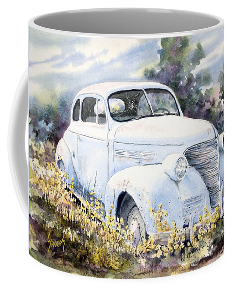 Automobile Coffee Mug featuring the painting 39 Chevy by Sam Sidders