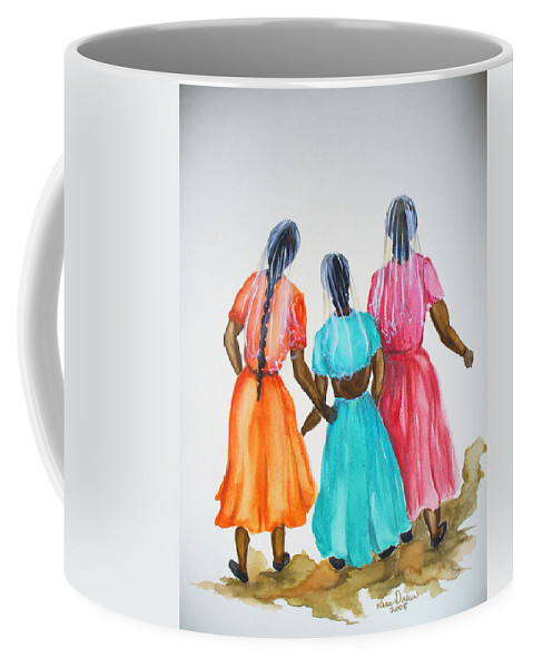 Three Ladies East Indian Coffee Mug featuring the painting 3bff by Karin Dawn Kelshall- Best