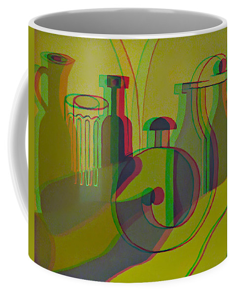 3d Coffee Mug featuring the painting 3d Stereo Cubism - Use Red-cyan 3d Glasses by Brian Wallace