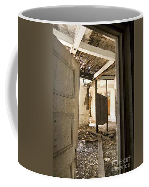 Preston Castle Coffee Mug featuring the photograph 3rd Floor Door And Ruined Room by Norman Andrus