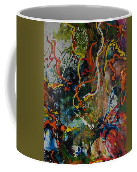 Red Coffee Mug featuring the painting Spirit Tree by Gail Goren