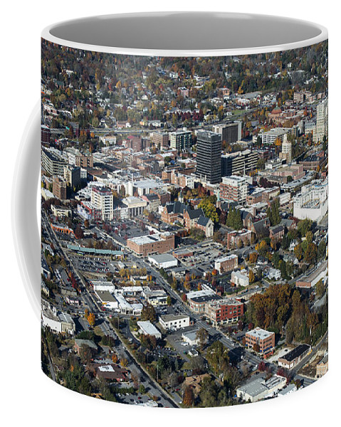 Asheville Coffee Mug featuring the photograph Asheville Aerial Photo by David Oppenheimer