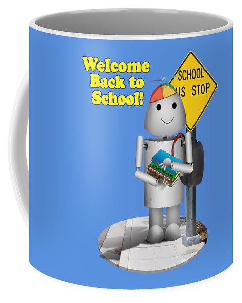 Back To School Coffee Mug featuring the digital art Back To School Little Robox9 by Gravityx9 Designs