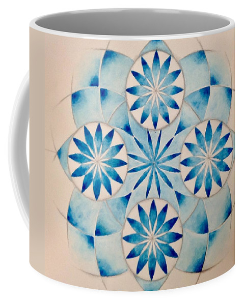 Cobalt Blue Coffee Mug featuring the painting 4 Blue Flowers Mandala by Andrea Thompson