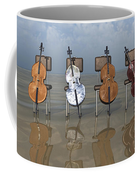 Cello Coffee Mug featuring the digital art 4 Cellos... - 4 Violoncelles... by R Fafard
