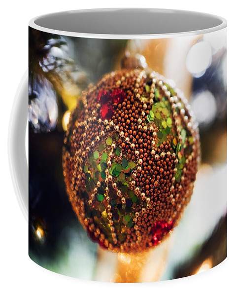 Christmas Card Xmas Tree Pine Spruce Decorations Ribbon Baubles Fairy Lights Needles Victorian Coffee Mug featuring the photograph Christmas Tree Decorations by Mal Bray