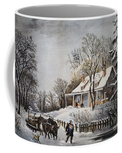 1860 Coffee Mug featuring the photograph Currier & Ives: Winter Scene by Granger